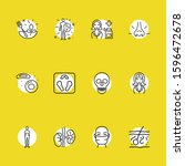 anatomic icons set with skin ... | Shutterstock . vector #1596472678
