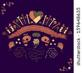 happy halloween greeting card....   Shutterstock .eps vector #159648635