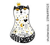 Hand Drawn Princess Cat With...