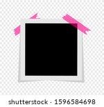 black and white photo polaroid... | Shutterstock .eps vector #1596584698