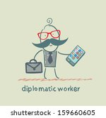 diplomatic worker holds a mobile | Shutterstock .eps vector #159660605
