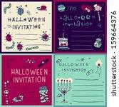happy halloween postcard... | Shutterstock .eps vector #159664376