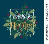 happy new year  hand drawn... | Shutterstock .eps vector #1596679795