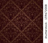 Seamless Brown Floral Vector...