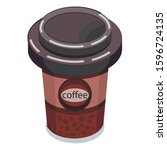 glass of coffee. isometric... | Shutterstock .eps vector #1596724135