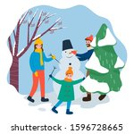 activity of happy family making ... | Shutterstock .eps vector #1596728665