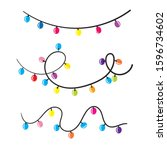 doodle christmas lights.... | Shutterstock .eps vector #1596734602