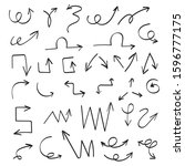 hand drawn arrow set. sketched... | Shutterstock .eps vector #1596777175