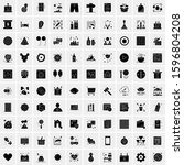 set of 100 glyph universal... | Shutterstock .eps vector #1596804208