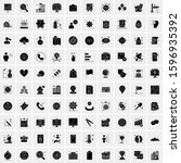 set of 100 glyph universal... | Shutterstock .eps vector #1596935392