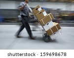 delivery goods with dolly by... | Shutterstock . vector #159698678