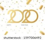 2020 happy new year logo.... | Shutterstock .eps vector #1597006492