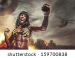 Female Warrior Attacking A Han...