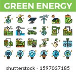 green energy and ecology line... | Shutterstock .eps vector #1597037185