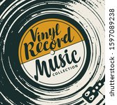 vector music poster with vinyl...   Shutterstock .eps vector #1597089238