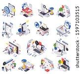 isometric time management... | Shutterstock .eps vector #1597103515