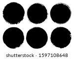 set of grunge distressed round... | Shutterstock .eps vector #1597108648