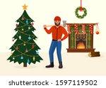 felled christmas tree and man... | Shutterstock .eps vector #1597119502
