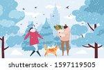 family  couple walking in... | Shutterstock .eps vector #1597119505