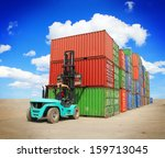 forklift handling the container ... | Shutterstock . vector #159713045
