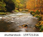 Autumn Mountain River With Low...