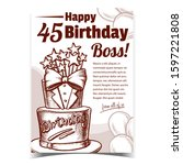 birthday cake decorated in suit ... | Shutterstock .eps vector #1597221808
