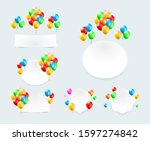 set of color glossy balloons... | Shutterstock .eps vector #1597274842