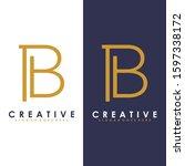 premium vector b logo in two...   Shutterstock .eps vector #1597338172