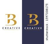 premium vector b logo in two...   Shutterstock .eps vector #1597338175