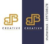 premium vector b logo in two...   Shutterstock .eps vector #1597338178