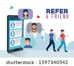 poster of refer a friend with... | Shutterstock .eps vector #1597340542