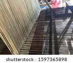 a small weaving loom made from...   Shutterstock . vector #1597365898
