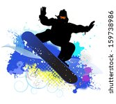 collection of snowboard  skiers | Shutterstock .eps vector #159738986