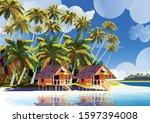 polynesia tahiti tropical beach ... | Shutterstock .eps vector #1597394008