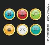 3d ui circle button icon set...