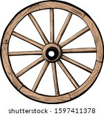 old classic wooden wheel from... | Shutterstock .eps vector #1597411378