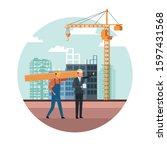 builder and engineer working...   Shutterstock .eps vector #1597431568