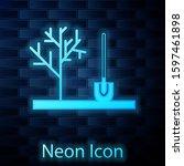 glowing neon planting a tree in ... | Shutterstock . vector #1597461898