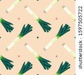seamless pattern with leek.... | Shutterstock .eps vector #1597505722