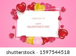 happy valentines day with... | Shutterstock .eps vector #1597544518