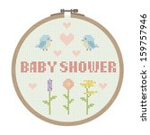 cross stitched baby shower card | Shutterstock .eps vector #159757946