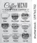 set of coffee menu with a cups... | Shutterstock .eps vector #159761702