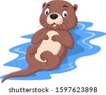Cartoon Funny Otter Floating On ...