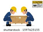 two workers is lifting the... | Shutterstock .eps vector #1597625155