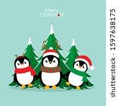 penguin. christmas background.... | Shutterstock .eps vector #1597638175