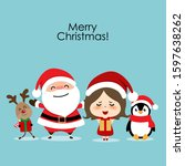 christmas greeting card with... | Shutterstock .eps vector #1597638262