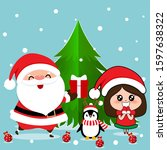 santa claus  penguin and cute... | Shutterstock .eps vector #1597638322