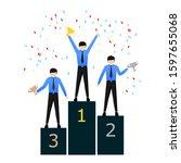 the entrepreneur gets the... | Shutterstock .eps vector #1597655068