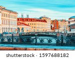 New-Stables bridge on Canal Gribobedov. Urban View of Saint Petersburg. Russia.