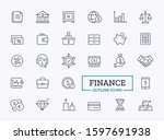finance icons for bank. thin... | Shutterstock .eps vector #1597691938